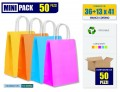 Mini-Pack da 50 pezzi | BUSTE SHOPPER IN CARTA COLORATA CM 36+13x41
