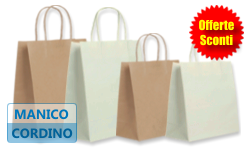 Buste Shopper in carta BIANCO o AVANA | MANICI CORDINO