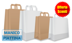 Buste Shopper in carta BIANCA o AVANA | MANICI PIATTINA
