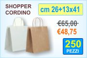 Buste shopper in carta con manico cordino
